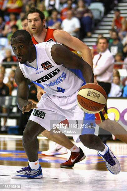 Cedric Jackson of the Breakers takes the ball during the round 14 NBL match between the Melbourne Tigers and the New Zealand Breakers at State...