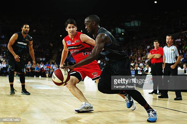 Cedric Jackson of the Breakers works the ball towards the hoop during the round 10 NBL match between the New Zealand Breakers and Perth Wildcats at...