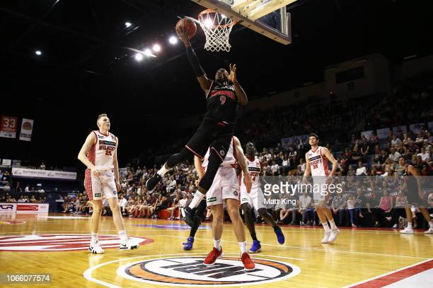 Cedric Jackson of the Hawks drives to the basket during the round five NBL match between the Illawarra Hawks and the Perth Wildcats at Wollongong...