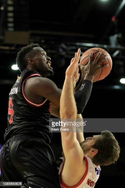 Cedric Jackson of the Hawks goes up for a shot during the round 10 NBL match between the Illawarra Hawks and the Perth Wildcats at Wollongong...