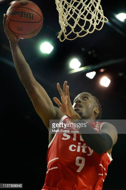 Cedric Jackson of the Hawks shoots for the basket during the round 16 NBL match between the Illawarra Hawks and the Cairns Taipans at WIN...