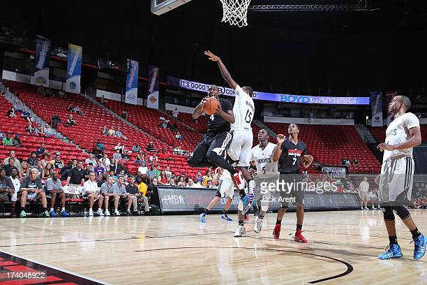 Cedric Jackson of the Portland Trailblazers glides to the hoop for the layup against the Minnesota Timberwolves during NBA Summer League on July 19,...