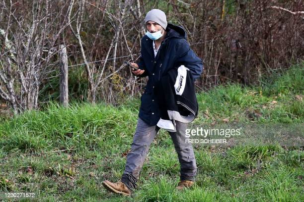 Cedric Jubillar, husband of the missing woman Delphine Jubillard, takes part in a search organised by French gendarmes in the woods of Milhars, on...
