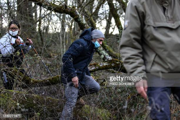 Cedric Jubillar , husband of the missing woman Delphine Jubillard, takes part in a search organised by French gendarmes in the woods of Milhars, on...