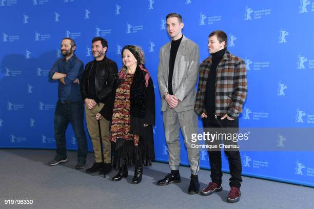 Cedric Kahn Alex Brendemuehl Hanna Schygulla Damien Chapelle and Anthony Bajon pose at the 'The Prayer' photo call during the 68th Berlinale...