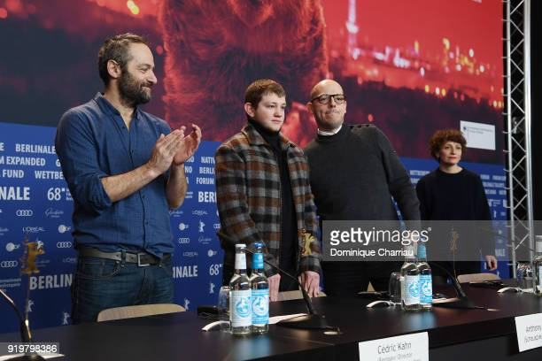 Cedric Kahn Anthony Bajon Samuel Doux and Fanny Burdino attend the 'The Prayer' ' press conference during the 68th Berlinale International Film...