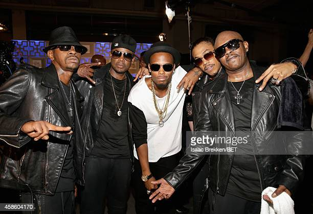 Cedric 'KCi' Hailey Dalvin DeGrate of Jodeci rapper BoB DeVante Swing and Joel 'Jojo' Hailey of Jodeci attend the 2014 Soul Train Music Awards at the...