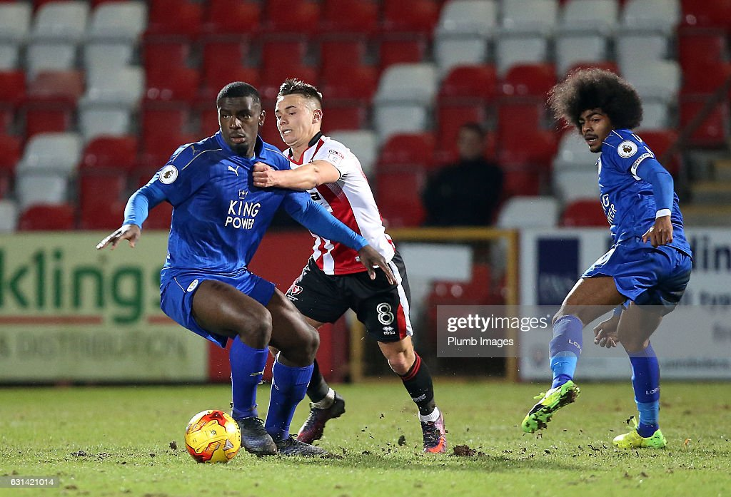 Cedric Kipre of Leicester City in action with Billy Walters of Cheltenham Town during the EFL Checkatrade Trophy Second Round tie between Cheltenham Town and Leicester City at Whaddon Road Stadium on January 10, 2017 in Cheltenham, England.