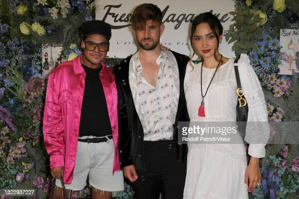 """Cedric Lanappe, Yanis Bargoin and Patricia Contreras attend the """"Fresh Magazine"""" launch party on June 10, 2021 in Paris, France."""