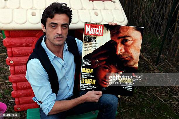 Cedric Laurent poses with a copy of Paris Match with him on the cover on January 02 2014 in BouchesduRhone France Cedric is fighting custody for his...