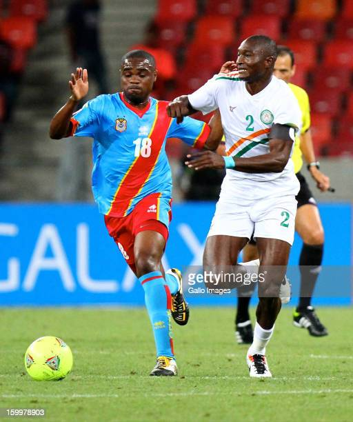 Cedric Makiadi of DR Congo and Maazou Moussa Ouwo of Niger during the 2013 African Cup of Nations match between Niger and DR Congo at Nelson Mandela...