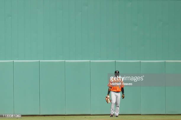 Cedric Mullins of the Baltimore Orioles in action against the Boston Red Sox during the Grapefruit League spring training game at JetBlue Park at...