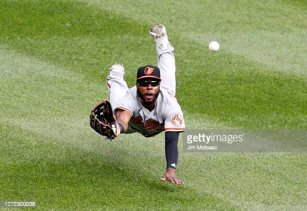 Cedric Mullins of the Baltimore Orioles makes a diving catch to end the seventh inning against the New York Yankees at Yankee Stadium on September...