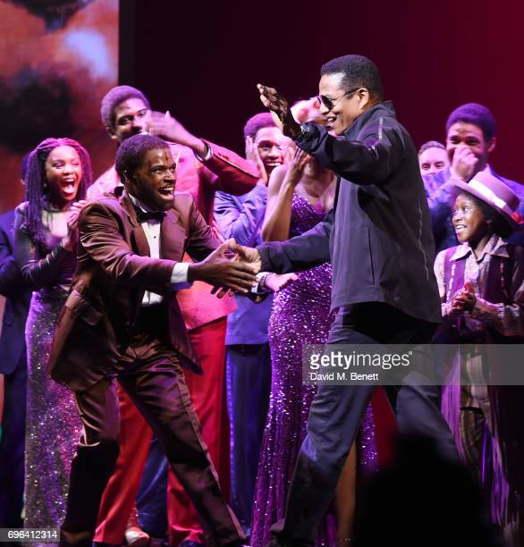 Cedric Neal greets Jackie Jackson of 'The Jackson 5' on stage with cast members of the West End Production Of Motown The Musical at the Shaftesbury...