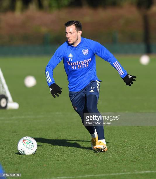 Cedric of Arsenal during a training session at London Colney on January 22, 2021 in St Albans, England.
