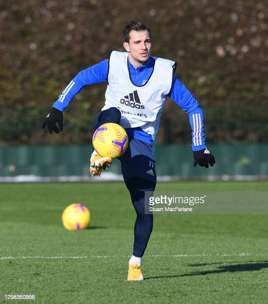 Cedric of Arsenal during a training session at London Colney on January 25, 2021 in St Albans, England.