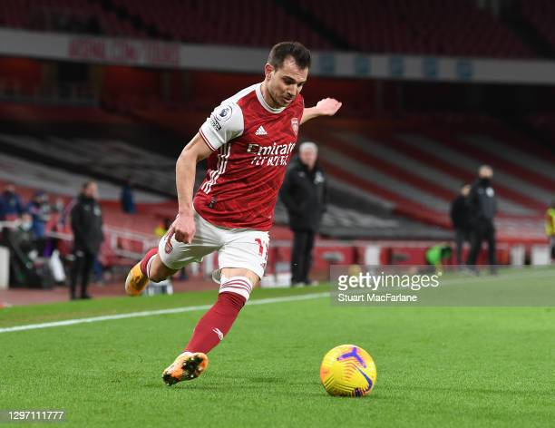 Cedric of Arsenal during the Premier League match between Arsenal and Newcastle United at Emirates Stadium on January 18, 2021 in London, England....