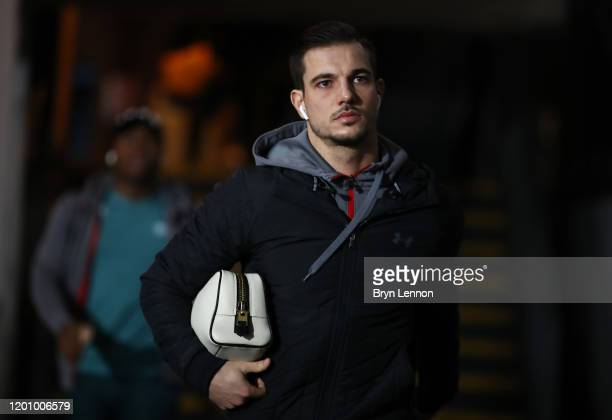 Cedric of Southampton arrives at the ground ahead of the Premier League match between Crystal Palace and Southampton FC at Selhurst Park on January...