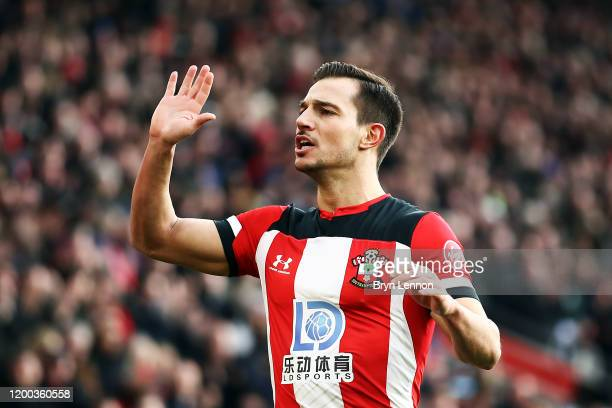 Cedric of Southampton celebrates during the Premier League match between Southampton FC and Wolverhampton Wanderers at St Mary's Stadium on January...