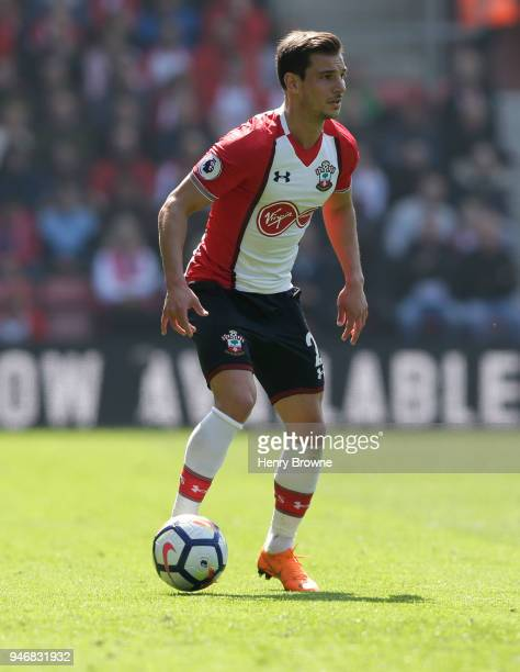 Cedric of Southampton during the Premier League match between Southampton and Chelsea at St Mary's Stadium on April 14 2018 in Southampton England...