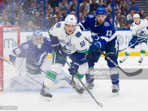 Cedric Paquette of the Tampa Bay Lightning skates against Bo Horvat of the Vancouver Canucks during the second period at Amalie Arena on October 11...