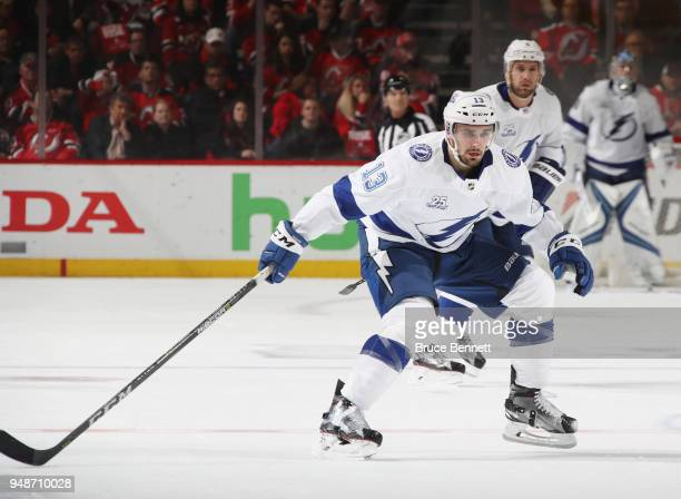 Cedric Paquette of the Tampa Bay Lightning skates against the New Jersey Devils in Game Four of the Eastern Conference First Round during the 2018...