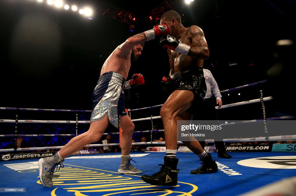 Cedric Peynaud punches Conor Benn during the WBA Continental Welterweight Championship title fight between Conor Benn and Cedric Peynaud at The O2 Arena on July 28, 2018 in London, England.