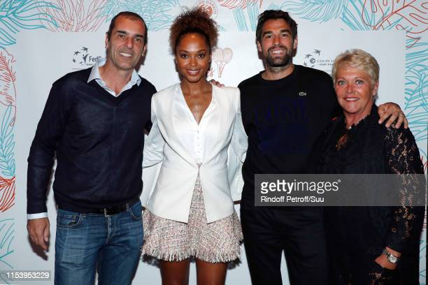 Cedric Pioline Susan Gossage Jeremy Chardy and Frederique Bahrami attend the Legends Of Tennis Dinner as part of 2019 French Tennis Open at on June...