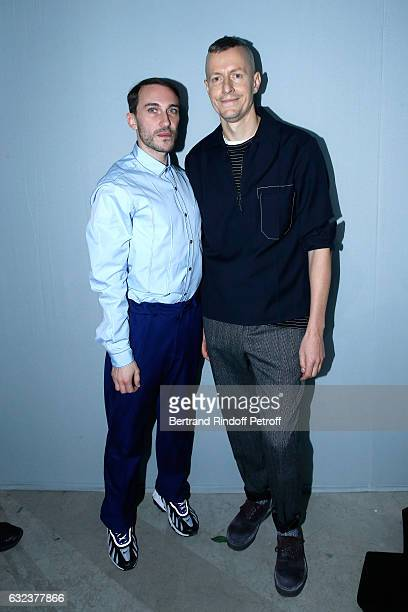 Cedric Rivrain and Stylist of 'Lanvin Men', Lucas Ossendrijver attend the Lanvin Menswear Fall/Winter 2017-2018 show as part of Paris Fashion Week on...