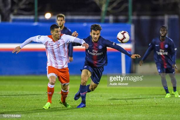 Cedric Sanches of Acbb and Metehan Guclu of Psg B during the National 2 match between Psg B and Acbb at Camp des Loges in Saint Germain en Laye on...