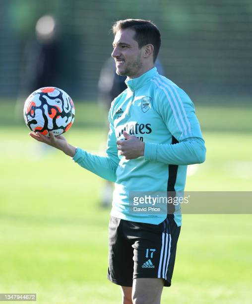 Cedric Soares of Arsenal during the Arsenal 1st team training session at London Colney on October 21, 2021 in St Albans, England.