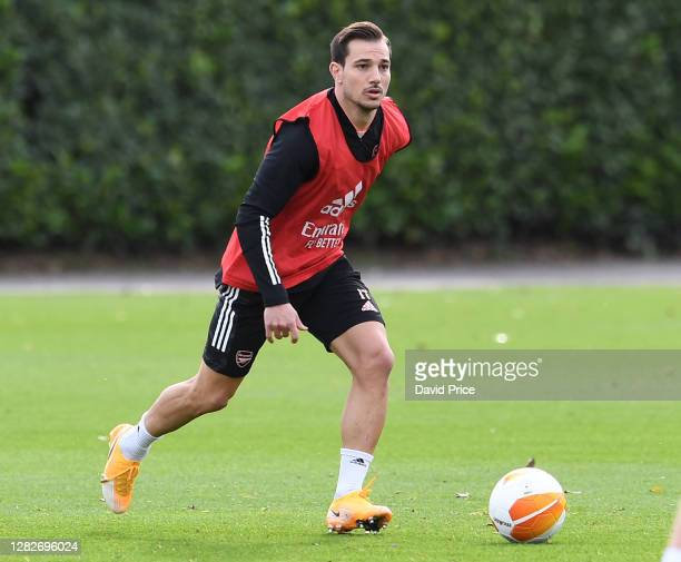 Cedric Soares of Arsenal during the Arsenal training session ahead of the UEFA Europa League Group B stage match between Arsenal FC and Dundalk FC at...