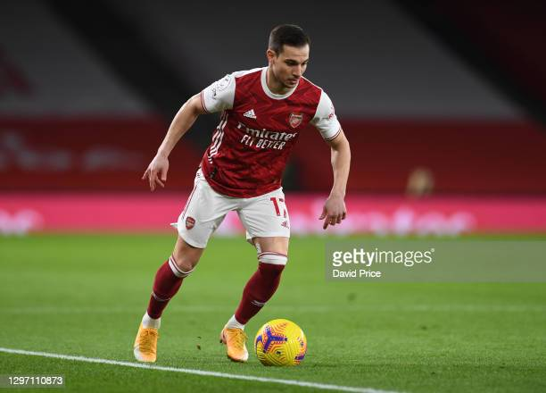 Cedric Soares of Arsenal during the Premier League match between Arsenal and Newcastle United at Emirates Stadium on January 18, 2021 in London,...