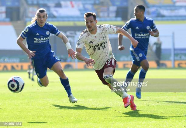 Cedric Soares of Arsenal during the Premier League match between Leicester City and Arsenal at The King Power Stadium on February 28, 2021 in...