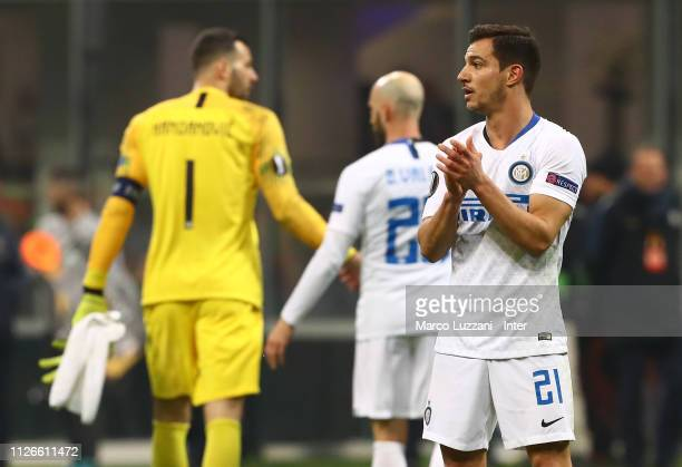 Cedric Soares of FC Internazionale in action during the UEFA Europa League Round of 32 Second Leg match between FC Internazionale and SK Rapid Wien...