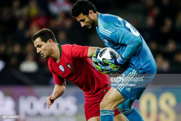 Cedric Soares of Portugal Ahmed El Shenawy of Egypt during the International Friendly match between Egypt v Portugal at the Letzigrund Stadium on...