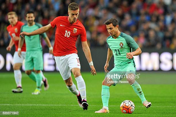 Cedric Soares of Portugal challenges Markus Henriksen of Norway during the International Friendly match between Portugal and Norway at Dragao Stadium...