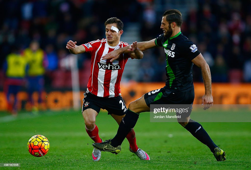 Cedric Soares of Southampton and Erik Pieters of Stoke City compete for the ball during the Barclays Premier League match between Southampton and Stoke City at St Mary's Stadium on November 21, 2015 in Southampton, England.