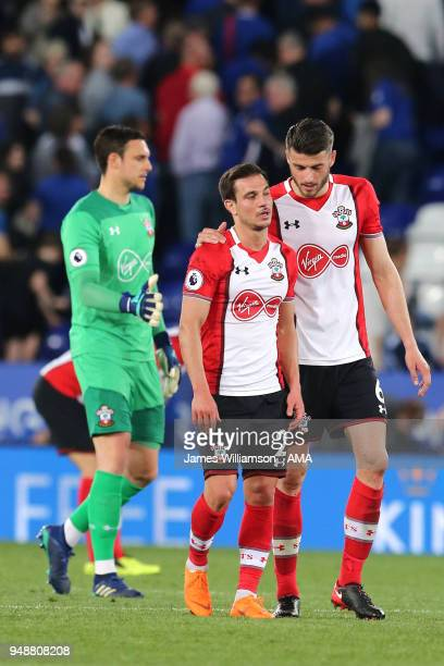 Cedric Soares of Southampton and Wesley Hoedt of Southampton at full time during the Premier League match between Leicester City and Southampton at...