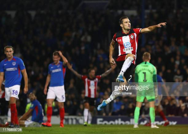 Cedric Soares of Southampton celebrates after scoring his sides third goal during the Carabao Cup Third Round match between Portsmouth and...