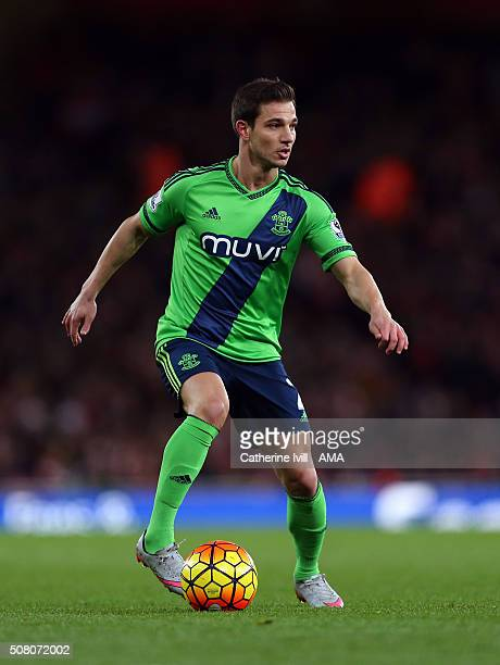 Cedric Soares of Southampton during the Barclays Premier League match between Arsenal and Southampton at the Emirates Stadium on February 2 2016 in...