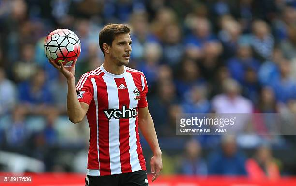 Cedric Soares of Southampton during the Barclays Premier League match between Leicester City and Southampton at The King Power Stadium on April 3...
