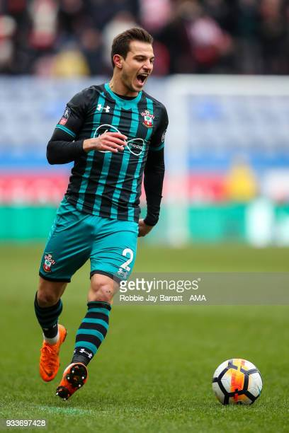 Cedric Soares of Southampton during The Emirates FA Cup Quarter Final match at DW Stadium on March 18 2018 in Wigan England