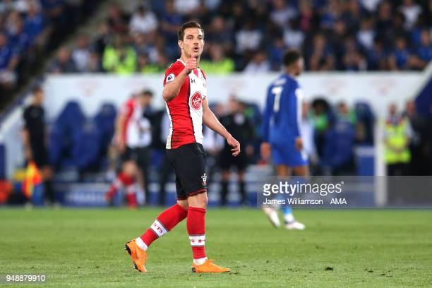 Cedric Soares of Southampton during the Premier League match between Leicester City and Southampton at The King Power Stadium on April 19 2018 in...