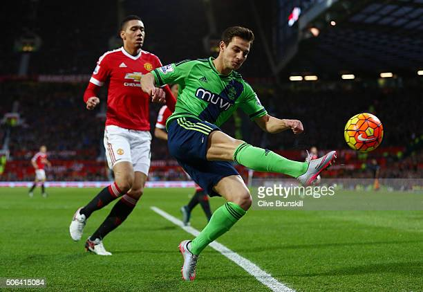 Cedric Soares of Southampton in action during the Barclays Premier League match between Manchester United and Southampton at Old Trafford on January...
