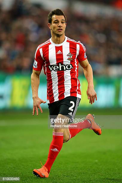 Cedric Soares of Southampton in action during the Barclays Premier League match between Swansea City and Southampton at the Liberty Stadium on...