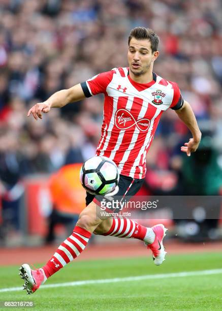 Cedric Soares of Southampton in action during the Premier League match between Southampton and AFC Bournemouth at St Mary's Stadium on April 1 2017...