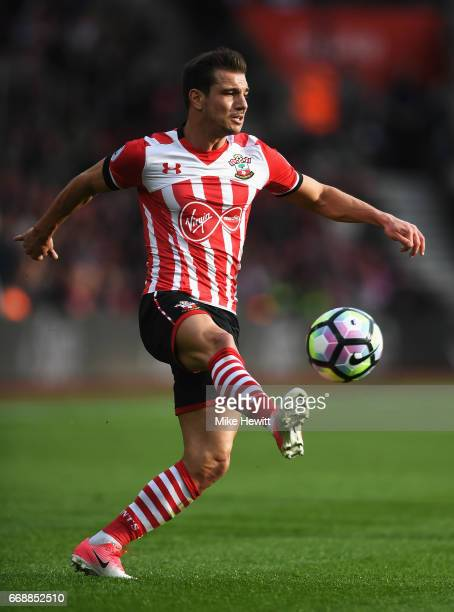 Cedric Soares of Southampton in action during the Premier League match between Southampton and Manchester City at St Mary's Stadium on April 15 2017...