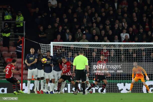 Cedric Soares of Southampton scores a goal to make it 20 during the Premier League match between Southampton FC and Manchester United at St Mary's...