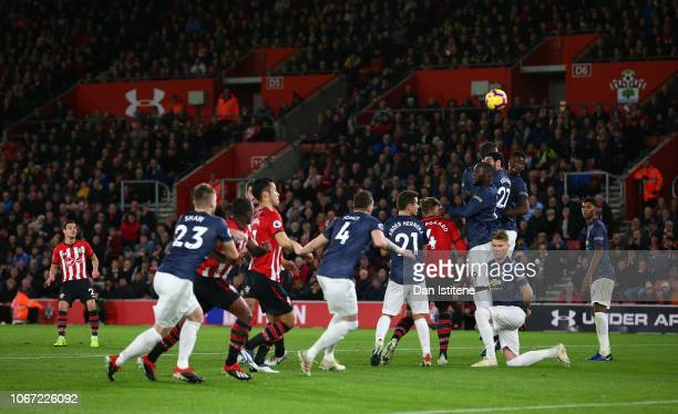 Cedric Soares of Southampton scores his team's second goal during the Premier League match between Southampton FC and Manchester United at St Mary's...